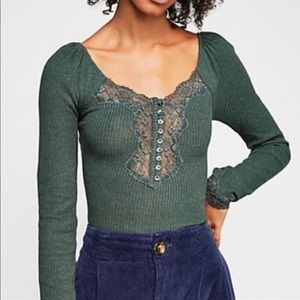 Free People Henley Lace Top M